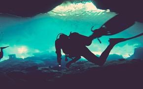 underwater, sea, divers