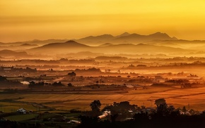 amber, field, valley, mist, landscape, village