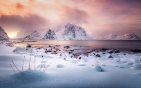 snow, sunlight, winter, clouds, Norway, Lofoten Islands