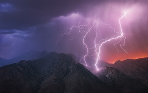 lightning, mountains, landscape, Death Valley, nature, clouds