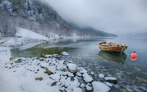 winter, boat, landscape, cold, mist, lake