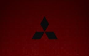 Mitsubishi, red, simple, car, logo, carbon fiber