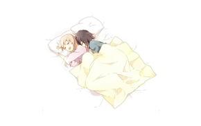 anime girls, Toshinou Kyouko, Funami Yui, sleeping, yuri, Yuru Yuri