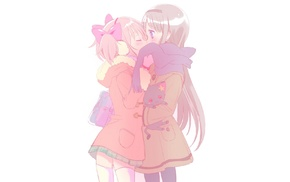 Mahou Shoujo Madoka Magica, yuri, Akemi Homura, kissing, Kaname Madoka, anime