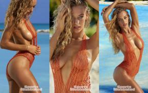 sensual gaze, Hannah Ferguson, see, through clothing, model, bikini