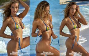 hands on head, bikini, model, Hannah Ferguson, girl, beach