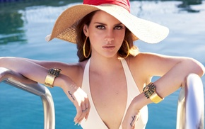 swimming pool, girl, brunette, Lana Del Rey, looking at viewer, singer