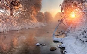 river, snow, sunlight, winter