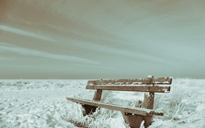 winter, nature, landscape, bench
