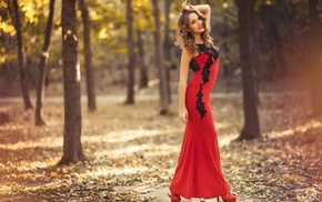dress, red dress, depth of field, looking at viewer, curly hair, girl