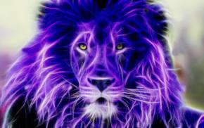colorful, lion, Fractalius
