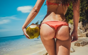 colorful, rear view, bikini, beach, summer, wet body