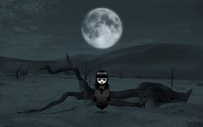 Moon, little girl, landscape, dessert, creepy