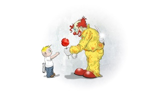 little boy, knife, creepy, lollipop, clowns