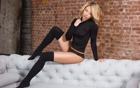 black stockings, blonde, girl, closed eyes, sitting, couch