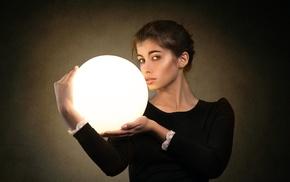 lamp, model, looking at viewer, girl