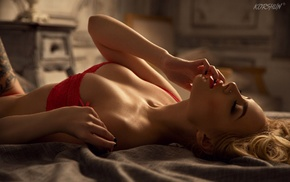 finger in mouth, closed eyes, in bed, girl, tattoo, blonde
