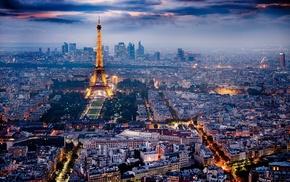 Paris, city lights, cityscape, Eiffel Tower