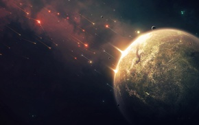 universe, planet, digital art, space, meteors, space art