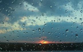 water on glass, water, sunset, rain