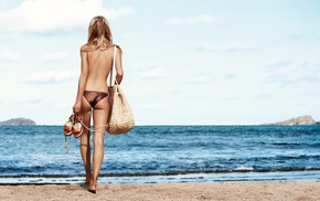 model, bare shoulders, back, beach, blonde, panties