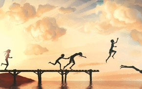 lake, sky, children, classic art, digital art, jumping