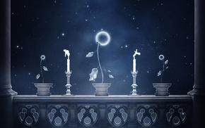 digital art, stars, candles