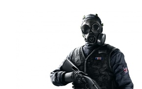 gas masks, shotgun
