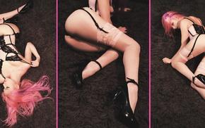 lingerie, collage, high heels, girl, model, on the floor