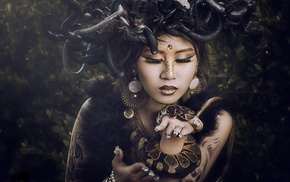 girl, Medusa, Asian, snake