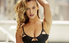 looking at viewer, hands on head, bikini top, swimwear, model, Hannah Ferguson
