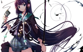 original characters, school uniform, katana, anime girls, headphones
