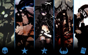 Strength Black Rock Shooter, Insane Black Rock Shooter, anime, Dead Master, anime girls, Black Gold Saw