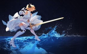 anime, Saber Lily, Fate Series, Saber, Excalibur, gauntlets