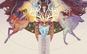 Princess Mononoke, artwork, deer, anime, Studio Ghibli