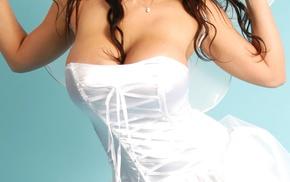 brunette, long hair, looking away, strapless dress, girl, white dress