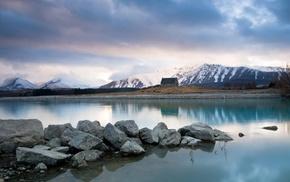 landscape, New Zealand, nature, hills, stones, snowy peak