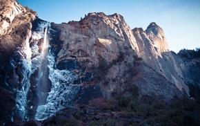 mountains, waterfall, nature