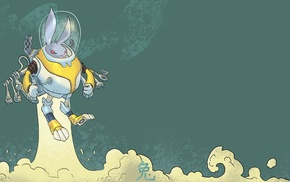 space, smoke, rabbits, astronaut, simple background, animals