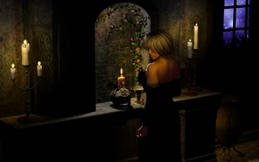 girl, digital art, window, CGI, candles, skull