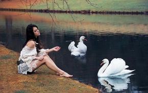 sitting, model, Aurela Skandaj, barefoot, white tops, bare shoulders