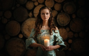 candles, girl, brunette, fire, depth of field, long hair