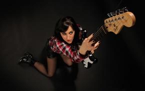 girl, nose rings, guitar, model