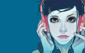biting lip, drawing, headphones, blue