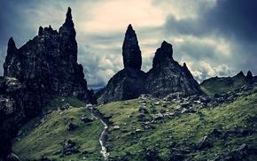 rock, sky, Skye, grass, landscape, nature