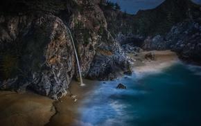 sea, beach, nature, waterfall, waves, sand