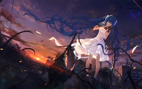 debris, stars, white dress, twintails, anime, long hair