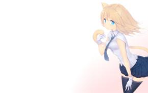skirt, nekomimi, anime, cat girl, thigh, highs