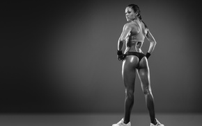 monochrome, ass, sports bra, model, girl, fitness model