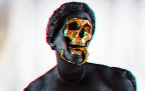 statue, vaporwave, gold, skull